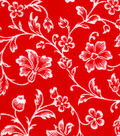 Snuggle Flannel Fabric 42\u0022-Red Floral Vines