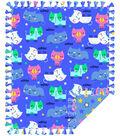 No Sew Fleece Throw-Sleeping Kitties On Blue