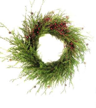 Handmade Holiday Christmas 42'' Giant Pine & Red Berry Wreath