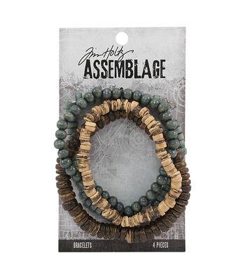 Tim Holtz Assemblage 4 Pack 7.5'' Bracelets-Natural Wooden Beads