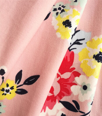 Knit Prints Double Brushed Poly Fabric-Pink Vintage Floral
