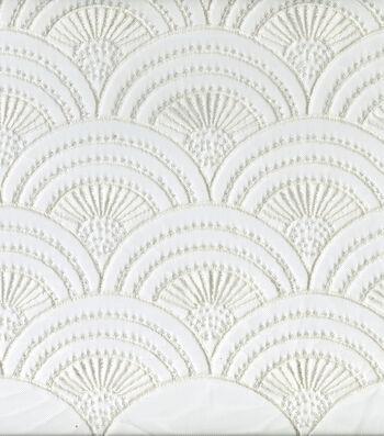Save The Date Scallop Sequin Fabric 56''-Bright White