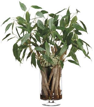 Eucalyptus & Driftwood in Glass Vase 35''-Green