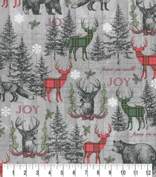 Christmas Cotton Fabric-Sketched Woodland Gray