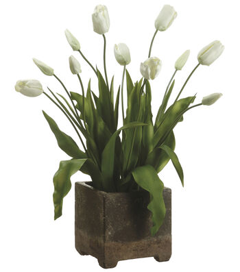 Bloom Room Luxe 29'' Tulip In Cement Pot-Cream