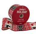 Maker\u0027s Holiday Ribbon 2.5\u0027\u0027x25\u0027-Red, Black & Ivory Nordic Print