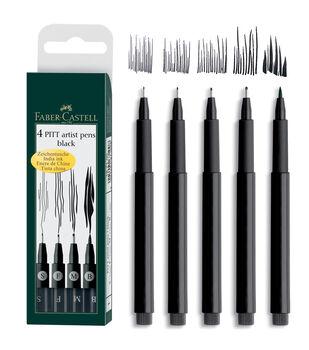 Faber Castell PITT Artist Pens Black 4pk