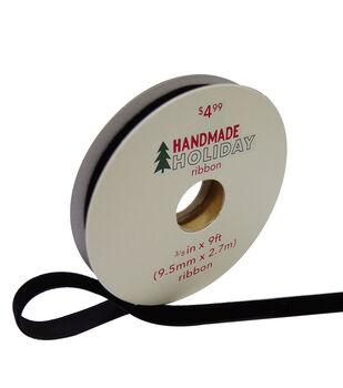 Handmade Holiday Christmas Velvet Ribbon 3/8''x9'-Black