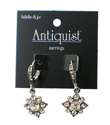 hildie & jo Antiquist Flower Silver Earrings-Clear Crystals