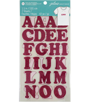 Jolee's Boutique 42 pk 1.5'' Glitter Letters Iron-on Transfers-Pink