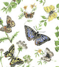 Snuggle Flannel Fabric -Monarch Butterflies on White