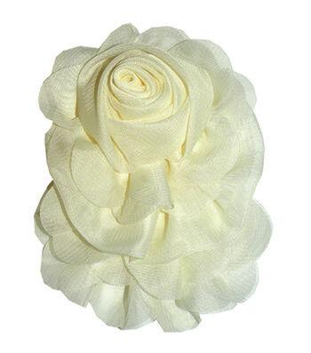 Sheer Rosette Pin White