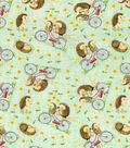 Novelty Cotton Fabric-Hedgehogs On Bikes