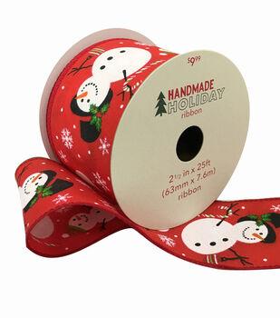 Handmade Holiday Christmas Ribbon 2.5''x25'-Snowmen on Red