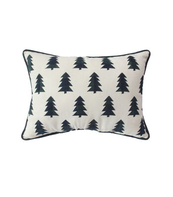 Maker's Holiday Christmas Farmhouse Lumbar Pillow-Tossed Trees