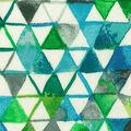 Premium Wide Cotton Fabric-Blue & Green Watercolor Triangles