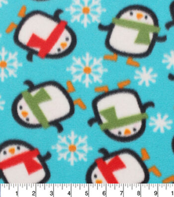 "Blizzard Fleece Fabric 59""-Penguins Bundled In Scarfs"