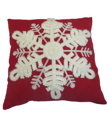 Maker's Holiday Christmas Farmhouse Pillow-Snowflake on Red