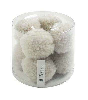 Simply Spring 8 pk 2'' Yarn Pom Poms-Cream