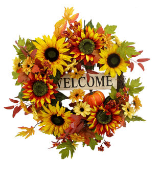 Blooming Autumn Sunflower Wreath-Welcome