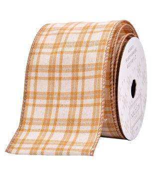 Simply Autumn Decor Ribbon 2.5''x12'-Orange & Cream Plaid