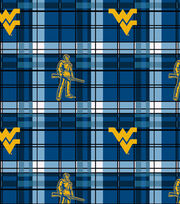 "West Virginia University Mountaineers Fleece Fabric 58""-Plaid, , hi-res"