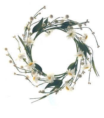 "Fresh Picked Spring 6"" Daisy & Berry Mini Wreath-White"