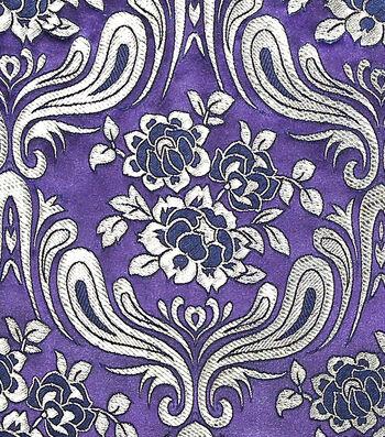 Brocade Fabric -Large Damask on Blackberry Wine