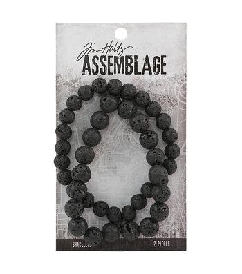 Tim Holtz Assemblage 2 Pack 8'' Bracelets-Lava Beads