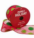 Maker\u0027s Holiday Christmas Ribbon 2.5\u0027\u0027x25\u0027-Green Glitter Dots on Red