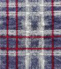 Anti-Pill Plush Fleece Fabric-Distressed Red Navy Plaid