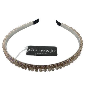hildie & jo 5.88''x5'' Headband-Taupe Rhinestone