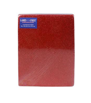 """Land of the Free 8""""x10"""" Glitter Felt Sheets 12/Pkg-Red, White & Blue"""