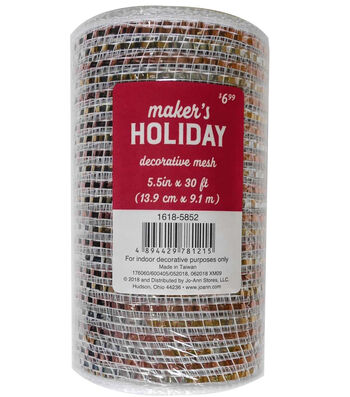Maker's Holiday Mesh Ribbon 5.5''x30'-Silver, Champagne & Rose Gold