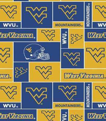 West Virginia University Mountaineers Fleece Fabric -Block