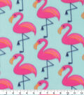 Blizzard Fleece Fabric-Flamingos on Aqua