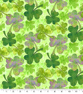 Susan Winget St. Patrick's Day Fabric 44''-Green Shades of Clover