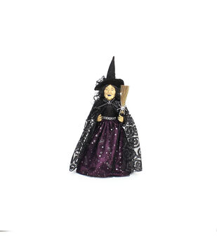 Maker's Halloween Standing Witch Doll in Purple Dress