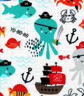 Snuggle Flannel Fabric -Pirate Sea Creatures
