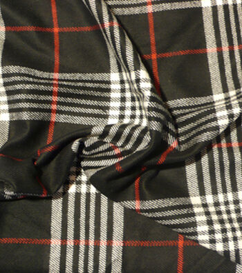 "Perfectly Plaid Acrylic Fabric 54""-Black & Red"