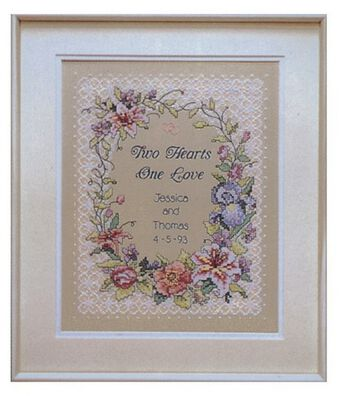Dimensions Two Hearts Wedding Record Stpd X-Stitch Kit