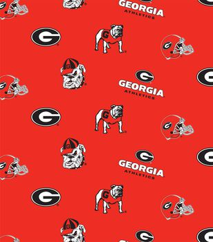 University of Georgia Athletics Bulldogs Cotton Fabric -Red