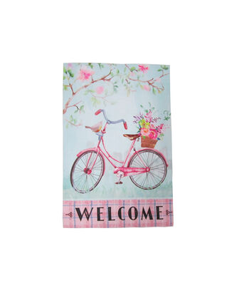 In the Garden 12''x18'' Flag-Bike & Welcome