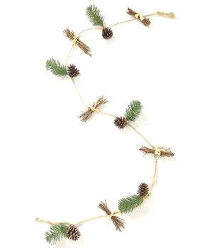 Handmade Holiday Christmas 66'' Pinecone & Branch Minimalist Garland
