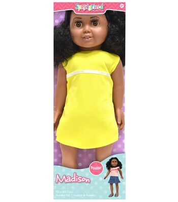 """Springfield Boutique Pre-Stuffed Doll 18""""-Madison-Black Curly Hair and Brown Eyes"""