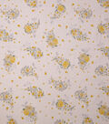 Homestead Crinkle Cotton Fabric-White Yellow Floral Spray