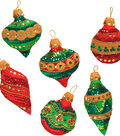 Bucilla Christmas 6 pk 3\u0027\u0027x4\u0027\u0027 Felt Applique Kit-Glitzy Ornaments