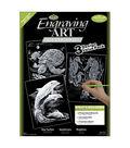Royal Brush Engraving Art Value Pack-3PK/Turtle, Sea Horse, Dolphins