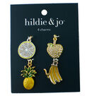 hildie & jo 4 pk Fruit Gold & Silver Charms-Clear & Green Crystals