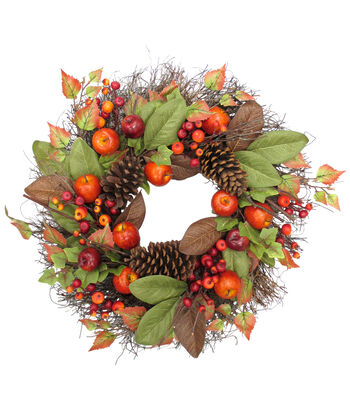 Blooming Autumn 23'' Apple, Pinecone & Berry Wreath